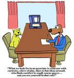 Friendly Job Interview. Business cartoon showing recruiter dog saying to interviewee cat, 'What we look for ... is someone with curiosity, a love of play... can Royalty Free Stock Images
