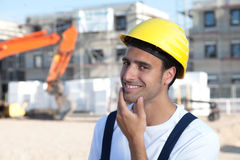Friendly latin construction worker Royalty Free Stock Images