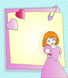 Friendly letter. Illustrated text frame with an adorable little girl offering a candy Stock Photo