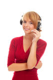 Friendly on-line operator in headphones Royalty Free Stock Photos