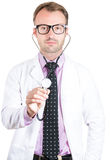 friendly male doctor or nurse with stethoscope Stock Images