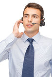 Friendly male helpline operator Royalty Free Stock Image