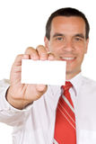 Friendly man with business card Royalty Free Stock Images