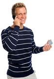 Friendly man on cell phone Royalty Free Stock Photography