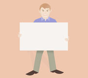 Friendly man holding board Stock Photography