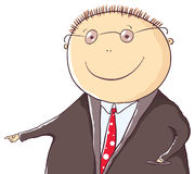 Friendly man in a suit is pointing at something. Cartoon friendly man in a suit is pointing at something Royalty Free Stock Photography
