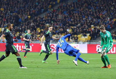 Friendly match Ukraine vs Wales in Kyiv, Ukraine. KYIV, UKRAINE - MARCH 28, 2016: Viktor Kovalenko of Ukraine (in Blue) attacks during the Friendly match against royalty free stock images