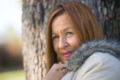 Friendly Mature woman winter jackte outdoor Royalty Free Stock Images
