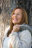 Friendly Mature woman winter jackte outdoor Stock Image