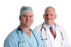 Friendly Medical Team. Two friendly doctors isolated on white Royalty Free Stock Images
