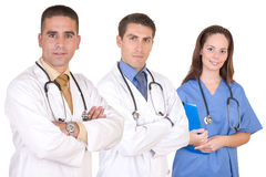 Friendly medical team - Healthcare workers. Over a white background Stock Photography