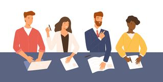Friendly men and women sitting at table, holding CV and asking questions during job interview. Smiling HR, hiring or. Recruitment specialists. Colorful vector stock illustration