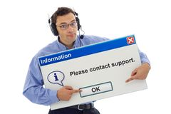 Friendly message from support. Friendly IT support staff member with computer message box guiding the customer - isolated Stock Images
