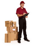 Friendly Messenger checking delivery Stock Photos
