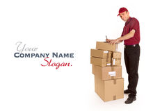 Friendly messenger delivering merchandise Royalty Free Stock Photo