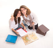 Friendly mom and daughter at homework Stock Photo
