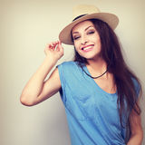 Friendly natural emotional laughing woman in summer hat looking Royalty Free Stock Images