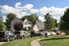 Friendly neighborhood. Details beautiful family houses Stock Photos
