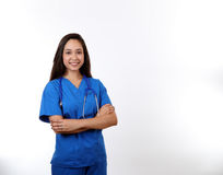 Friendly Nurse in Blue Scrubs Royalty Free Stock Photos