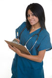 Friendly nurse with a chart Royalty Free Stock Images