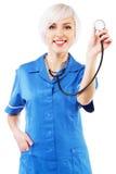 Friendly nurse on white background Royalty Free Stock Images