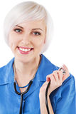 Friendly nurse on white background Royalty Free Stock Photography