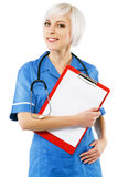 Friendly nurse on white background Royalty Free Stock Images