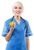 Friendly nurse on white background Royalty Free Stock Photo