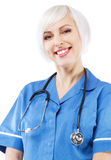 Friendly nurse on white background Stock Photography