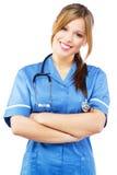 Friendly nurse on white background Royalty Free Stock Photos