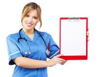 Friendly nurse on white background Stock Photos