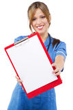 Friendly nurse on white background Royalty Free Stock Image