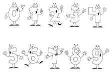 Friendly outlined cartoon numbers set vector illustration