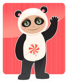 Friendly panda. Smiling baby in panda costume with a lollipop in his hand Royalty Free Stock Photos