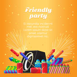 Friendly Party Banner. Fireworks for Festivals Royalty Free Stock Photography