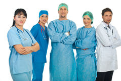 Friendly physician woman and her team Stock Images
