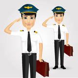 Friendly pilot with briefcase saluting Stock Photos
