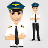 Friendly pilot with crossed arms Royalty Free Stock Photography