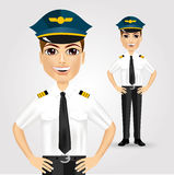 Friendly pilot with hand on hips Royalty Free Stock Photography
