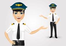 Friendly pilot showing something Stock Image