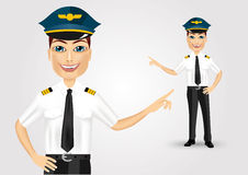 Friendly pilot showing something Royalty Free Stock Photos