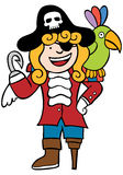 Friendly Pirate with Parrot. Cartoon image of a friendly pirate with parrot Royalty Free Stock Photo
