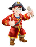 Friendly pirate and treasure map Royalty Free Stock Photo