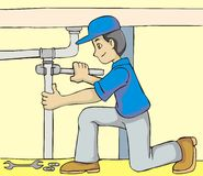 Friendly Plumber. An illustration of a friendly plumber, installing a water pipe royalty free illustration