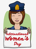 Friendly Policewoman with Women's Day White Flag, Vector Illustration stock images
