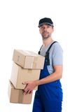 Friendly postman with parcels Royalty Free Stock Photos