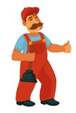 Friendly professional plumber in red overalls with plunger. Friendly professional plumber in red overalls and cap with thick mustaches and rubber plunger in hand Royalty Free Stock Images