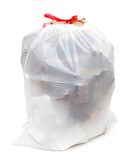 Friendly recycling bag. A friendly white recycle bag on white background Royalty Free Stock Photography