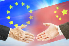 Friendly relations between European Union and China Royalty Free Stock Photo