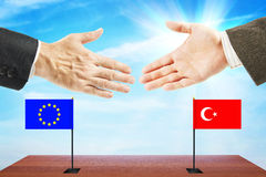 Friendly relations between European Union and Turkey Royalty Free Stock Photos
